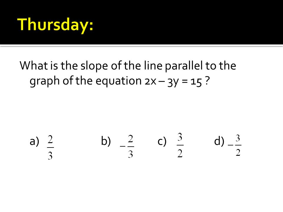 What is the slope of the line parallel to the graph of the equation 2x – 3y = 15 a)b)c)d)