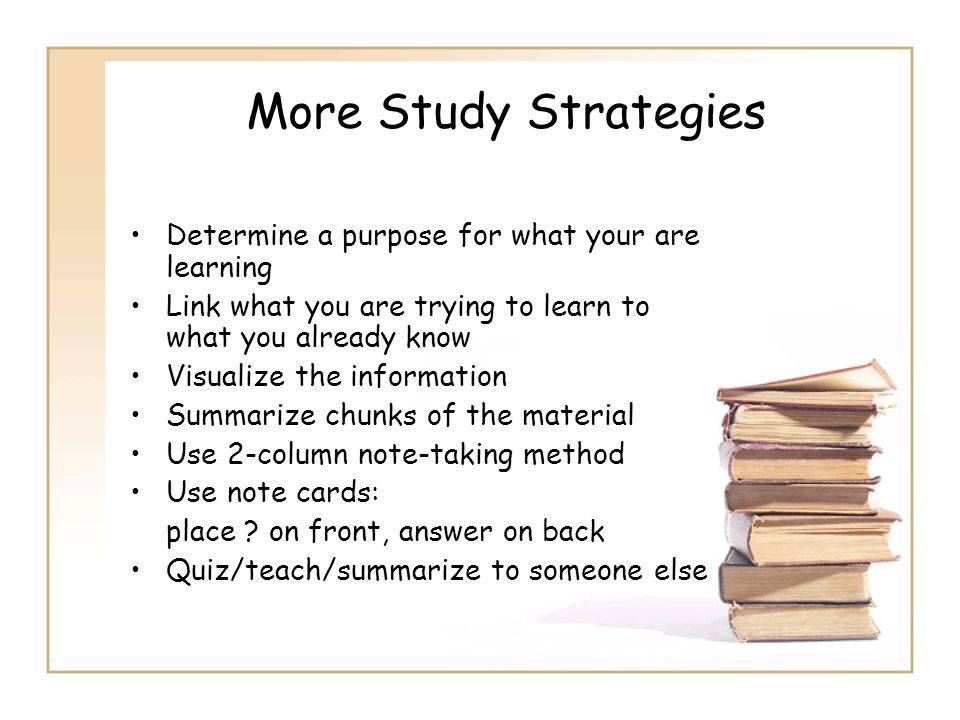 More Study Strategies Determine a purpose for what your are learning Link what you are trying to learn to what you already know Visualize the informat