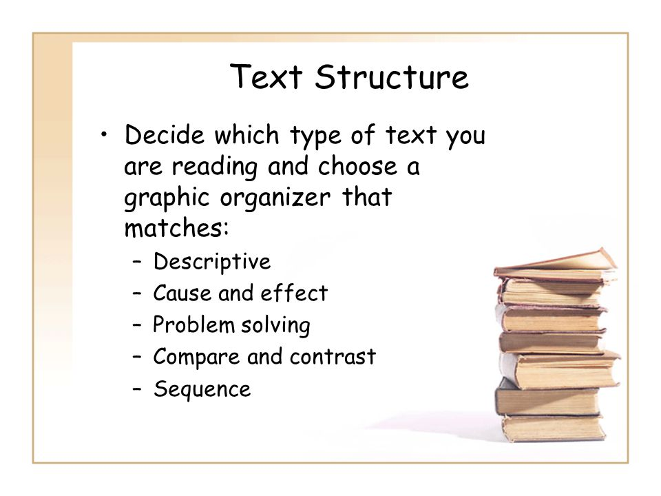 Text Structure Decide which type of text you are reading and choose a graphic organizer that matches: –Descriptive –Cause and effect –Problem solving