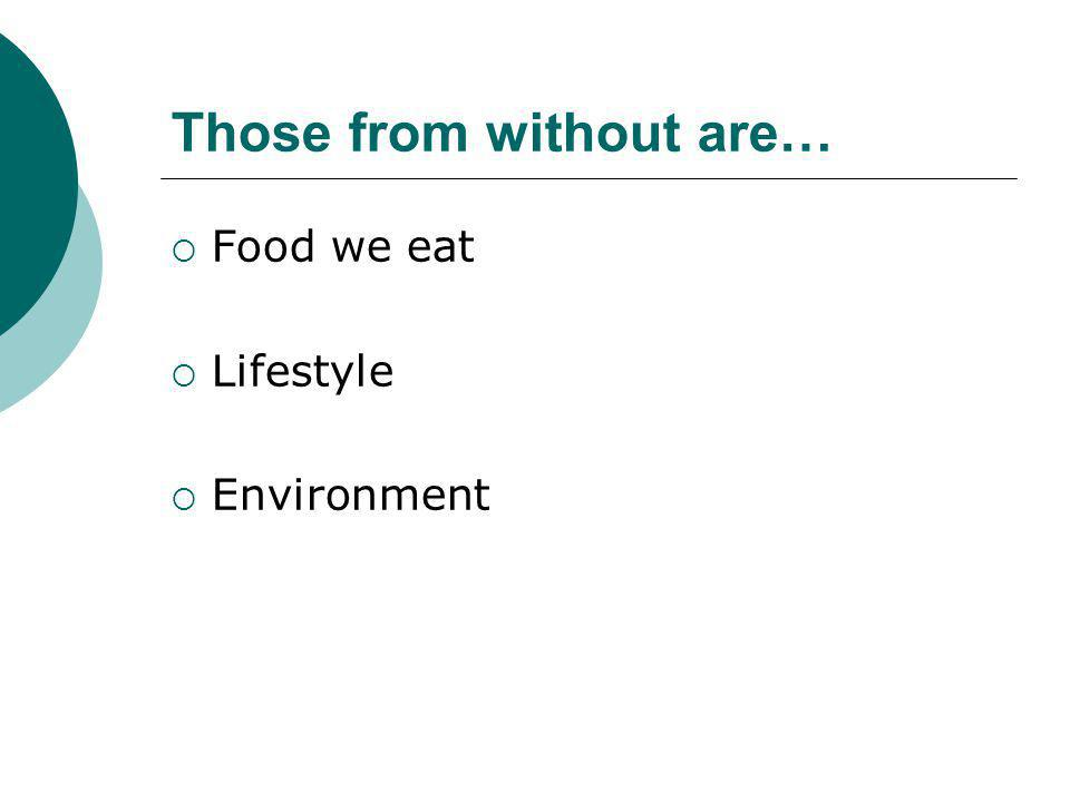Those from without are…  Food we eat  Lifestyle  Environment