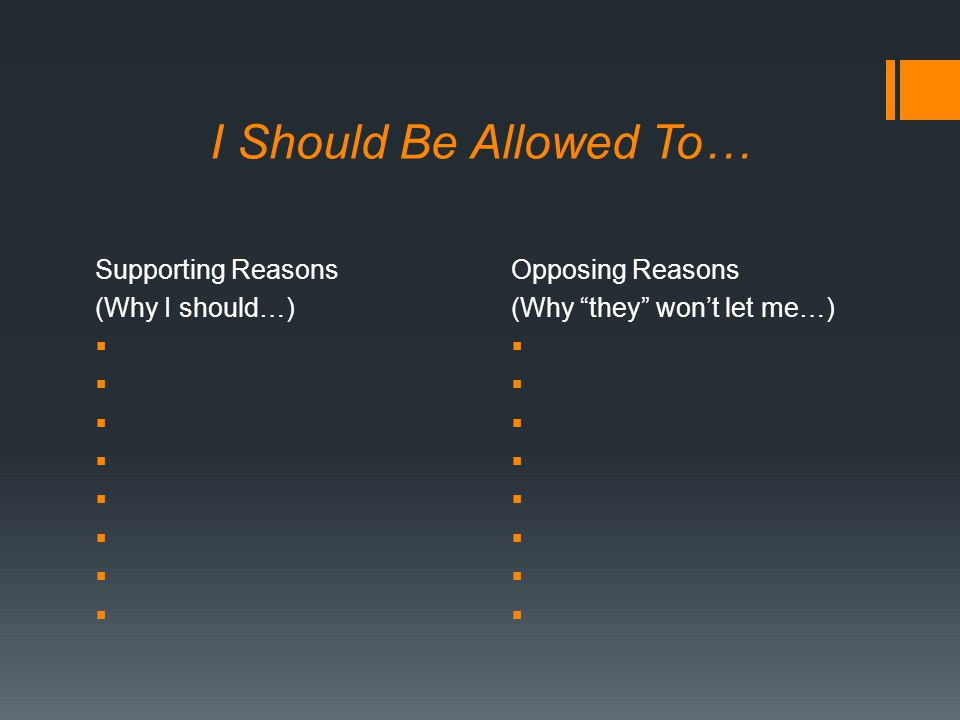 I Should Be Allowed To… Supporting Reasons (Why I should…)  Opposing Reasons (Why they won't let me…) 