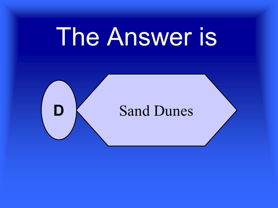Which of the following is created by windblown sand? Canyon Delta Mesa Sand Dune A B C D For 10 Points Who Wants To Be A Scientist ?