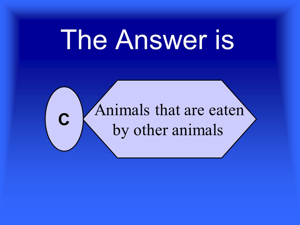 Prey refers to_________ Animals that eat other animals A population of animals Animals that are eaten by other animals People who eat meat A B C D For