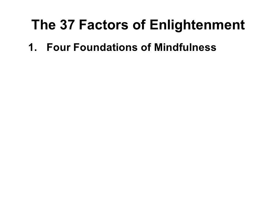 1.Four Foundations of Mindfulness 2.Four Supreme Efforts 3.Four Means to Accomplishment 4.Five Faculties 5.Five Powers 6.Seven Factors of Enlightenmen