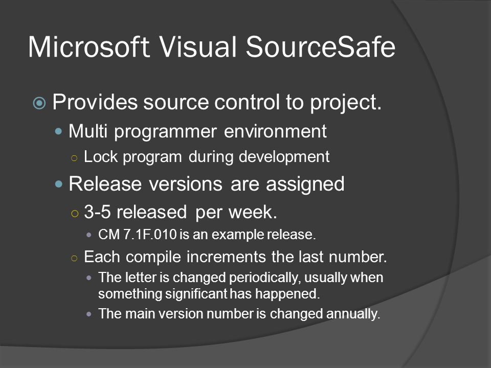 Microsoft Visual SourceSafe  Provides source control to project.