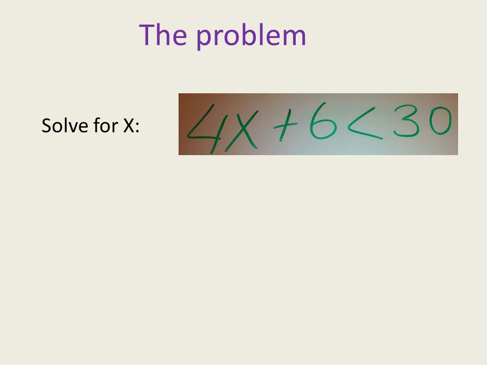 The problem Solve for X: