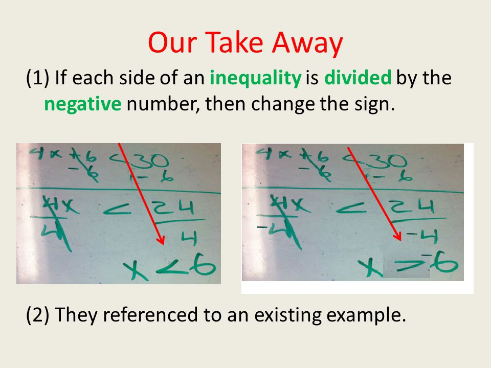 Our Take Away (1) If each side of an inequality is divided by the negative number, then change the sign. (2) They referenced to an existing example.