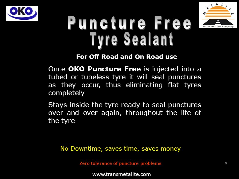 For Off Road and On Road use OKO Tyre Sealant was developed by the OKO team together with a leading European Rubber technology research institution (MRPRA) now Rubber Consultants.