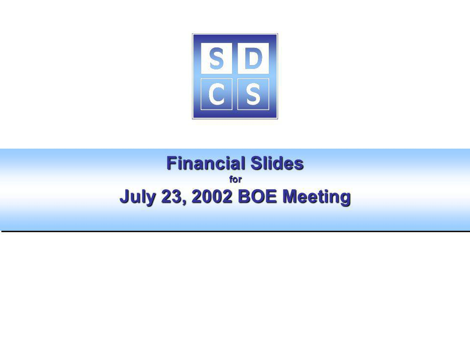 Financial Slides for July 23, 2002 BOE Meeting