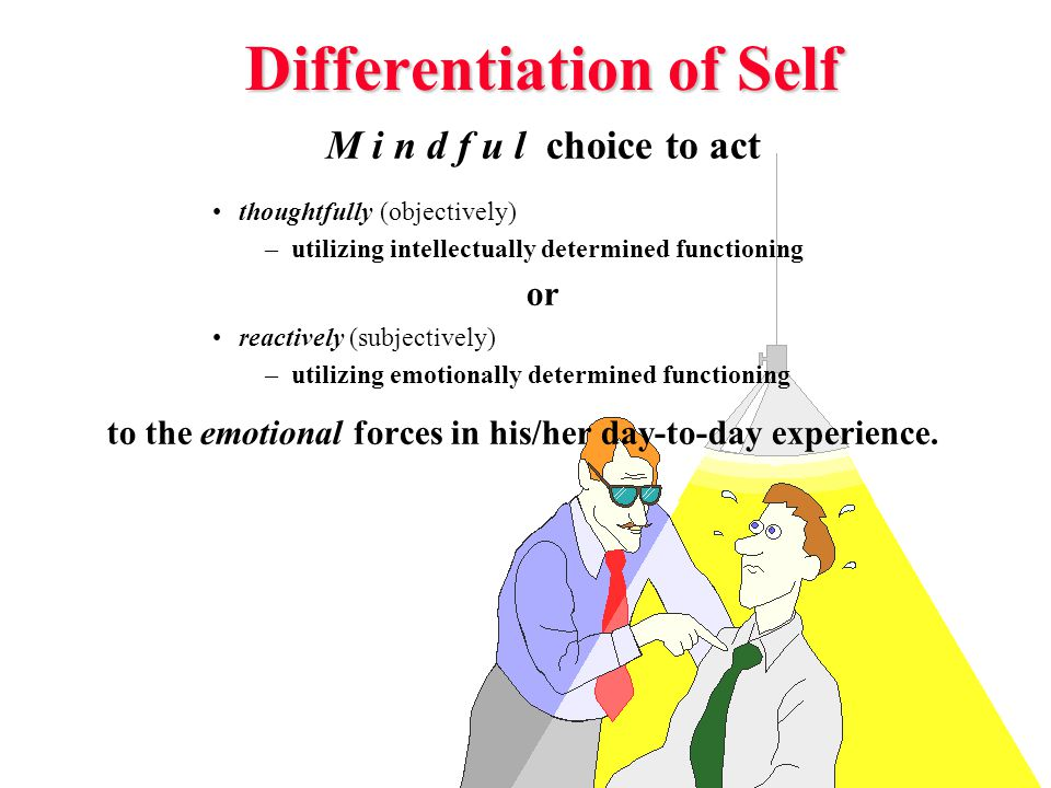 Differentiation of Self M i n d f u l choice to act thoughtfully (objectively) –utilizing intellectually determined functioning or reactively (subjectively) –utilizing emotionally determined functioning to the emotional forces in his/her day-to-day experience.