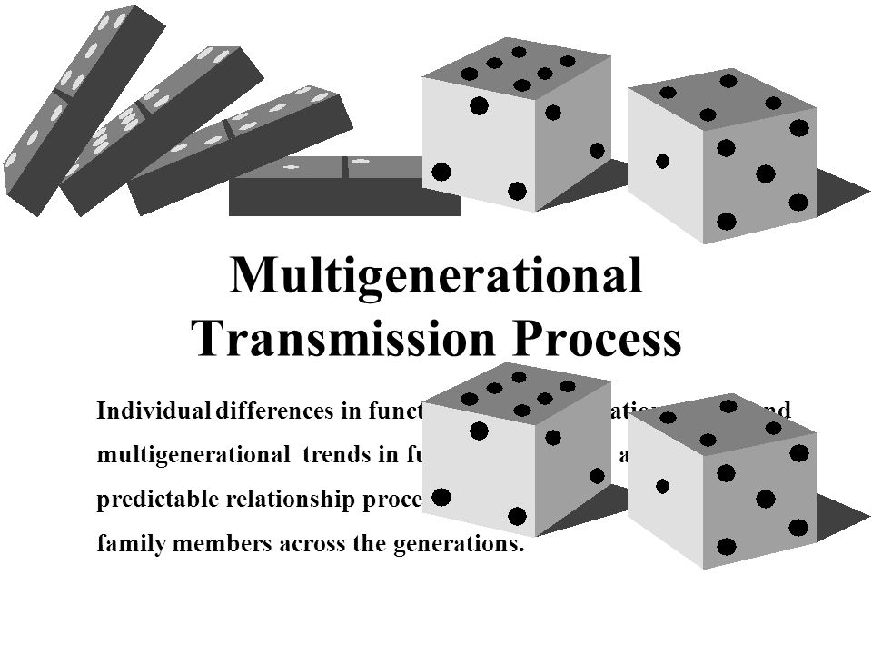 Multigenerational Transmission Process Individual differences in functioning (differentiation of self) and multigenerational trends in functioning, reflect an orderly and predictable relationship process that connect the functioning of family members across the generations.