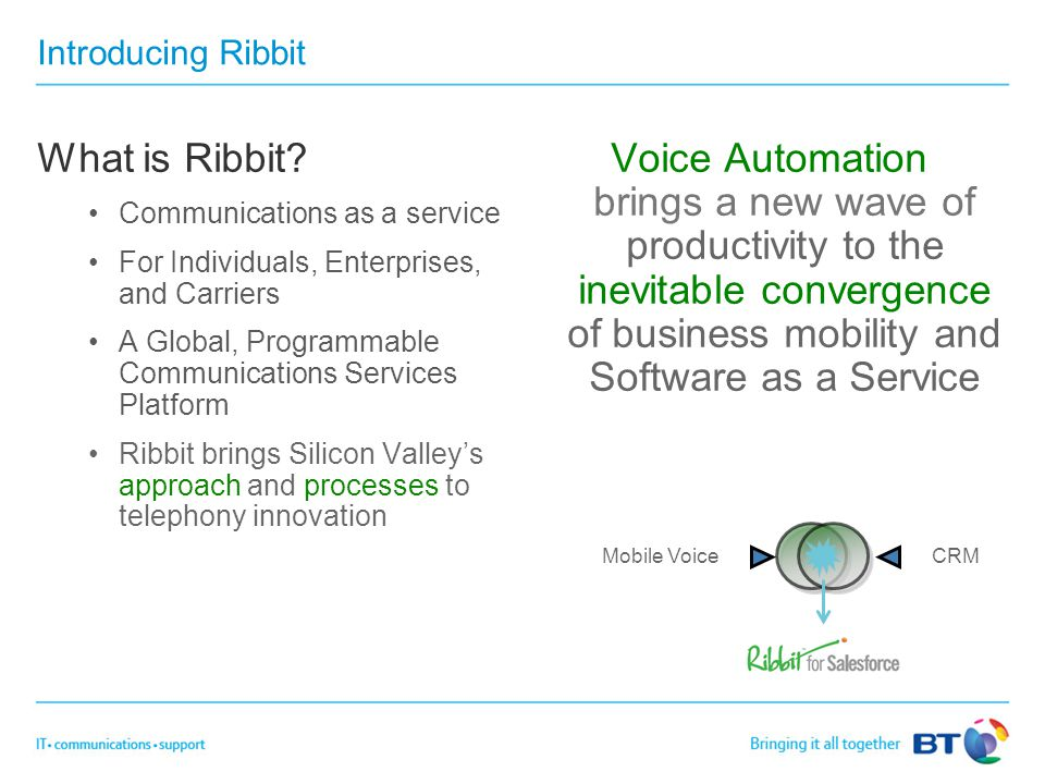 Introducing Ribbit What is Ribbit? Communications as a service For Individuals, Enterprises, and Carriers A Global, Programmable Communications Servic