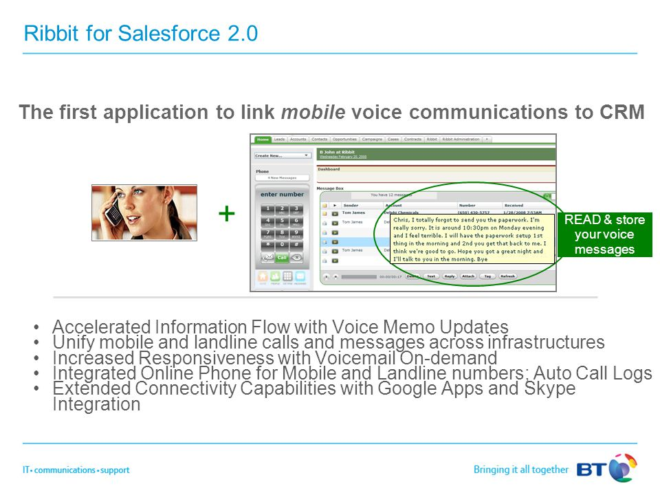Ribbit for Salesforce 2.0 Accelerated Information Flow with Voice Memo Updates Unify mobile and landline calls and messages across infrastructures Inc