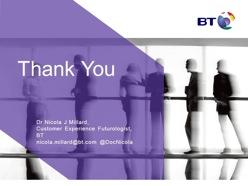 Thank You Dr Nicola J Millard, Customer Experience Futurologist, BT nicola.millard@bt.com @DocNicola