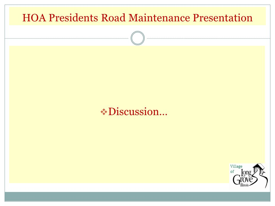 HOA Presidents Road Maintenance Presentation  Discussion… Village of