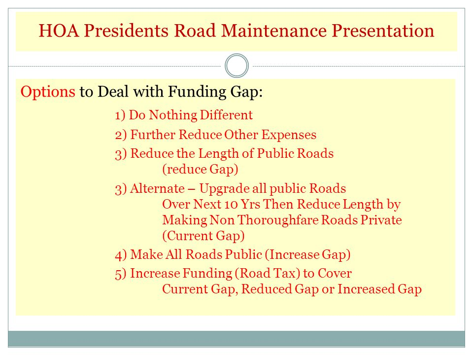 Issue: Recommended Maintenance Of Roads. Recommended Funding. $2.1 M Actual Funding. $800K Difference ($1.3 M ) Options to Deal with Funding Gap: 1) D