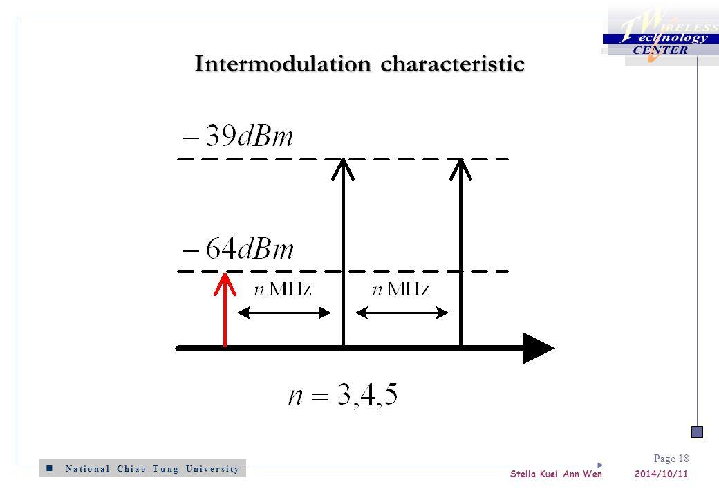 National Chiao Tung University Stella Kuei Ann Wen 2014/10/11 Page 18 Intermodulation characteristic
