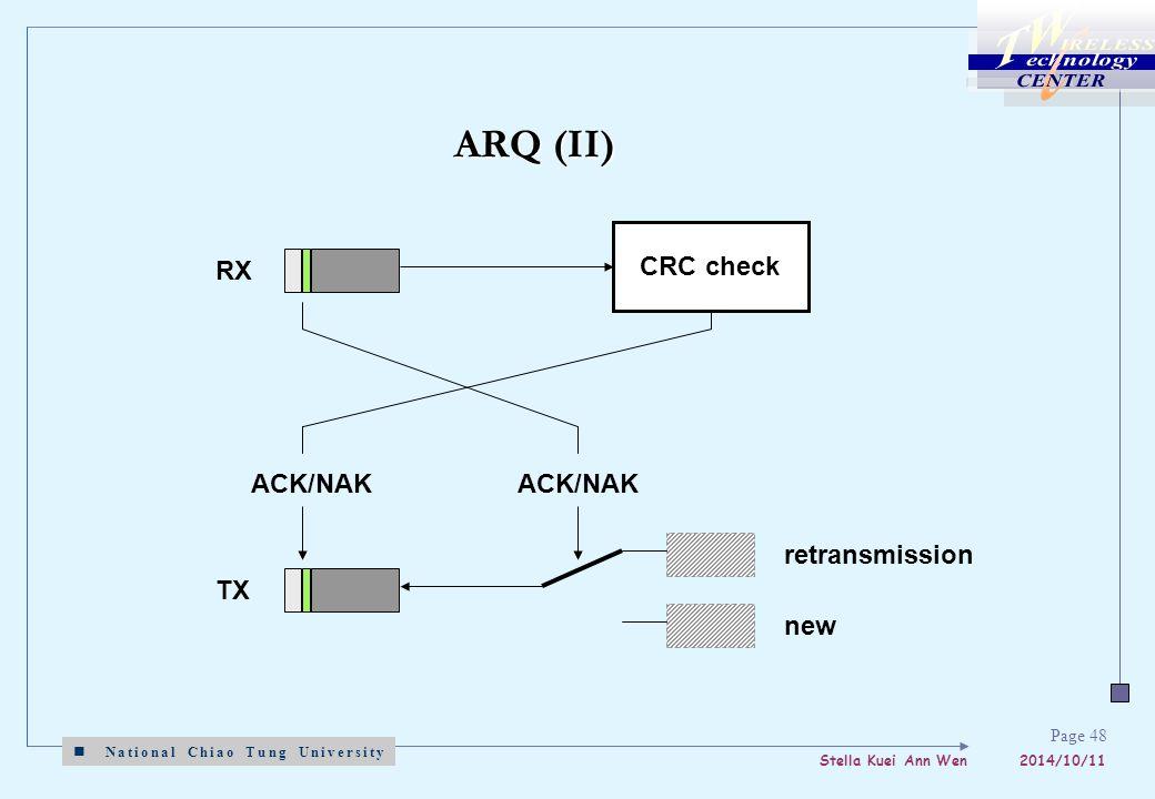 National Chiao Tung University Stella Kuei Ann Wen 2014/10/11 Page 48 ARQ (II) CRC check ACK/NAK RX new retransmission TX ACK/NAK