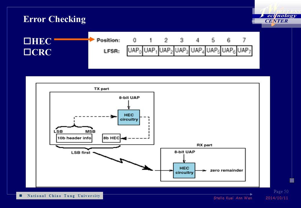 National Chiao Tung University Stella Kuei Ann Wen 2014/10/11 Page 50 Error Checking oHEC oCRC