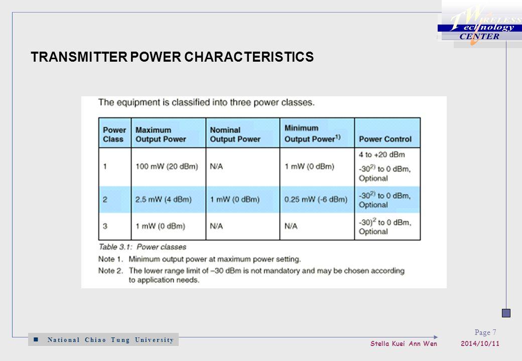 National Chiao Tung University Stella Kuei Ann Wen 2014/10/11 Page 7 TRANSMITTER POWER CHARACTERISTICS