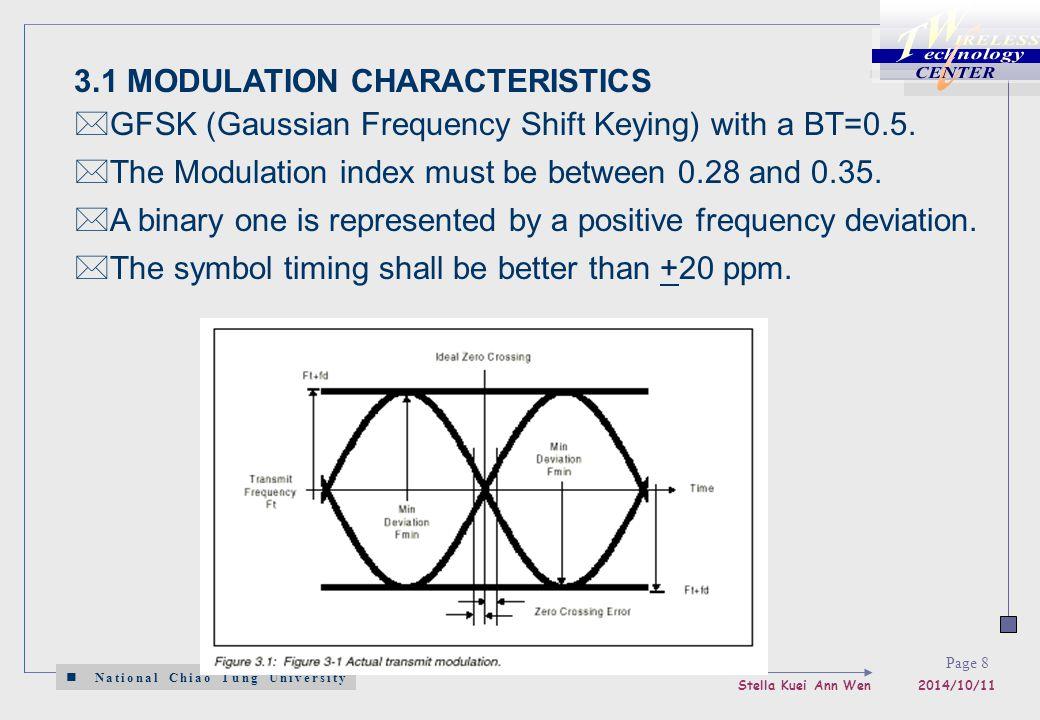National Chiao Tung University Stella Kuei Ann Wen 2014/10/11 Page 8 3.1 MODULATION CHARACTERISTICS  GFSK (Gaussian Frequency Shift Keying) with a BT=0.5.