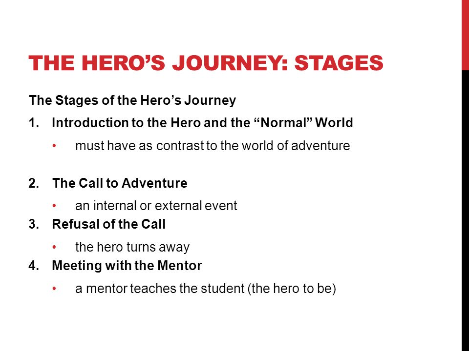 "THE HERO'S JOURNEY: STAGES The Stages of the Hero's Journey 1.Introduction to the Hero and the ""Normal"" World must have as contrast to the world of ad"