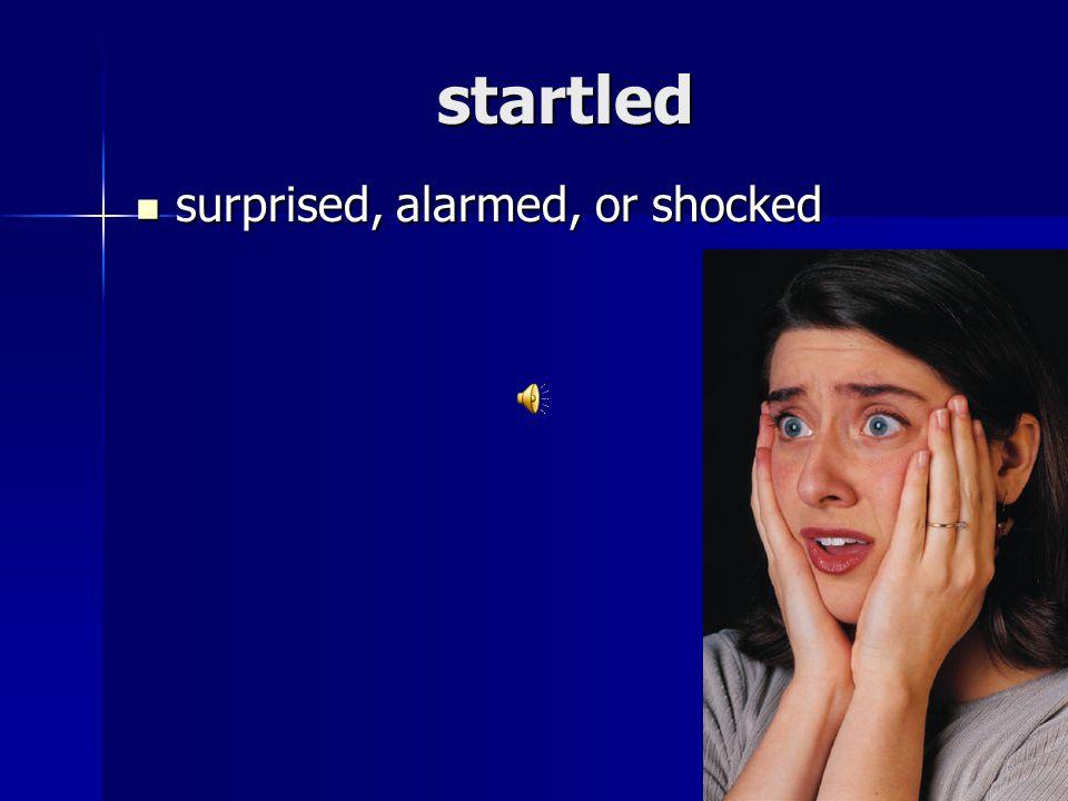 startled surprised, alarmed, or shocked surprised, alarmed, or shocked