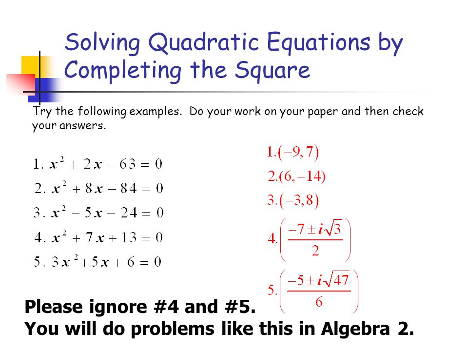 completing the square problems - Khafre