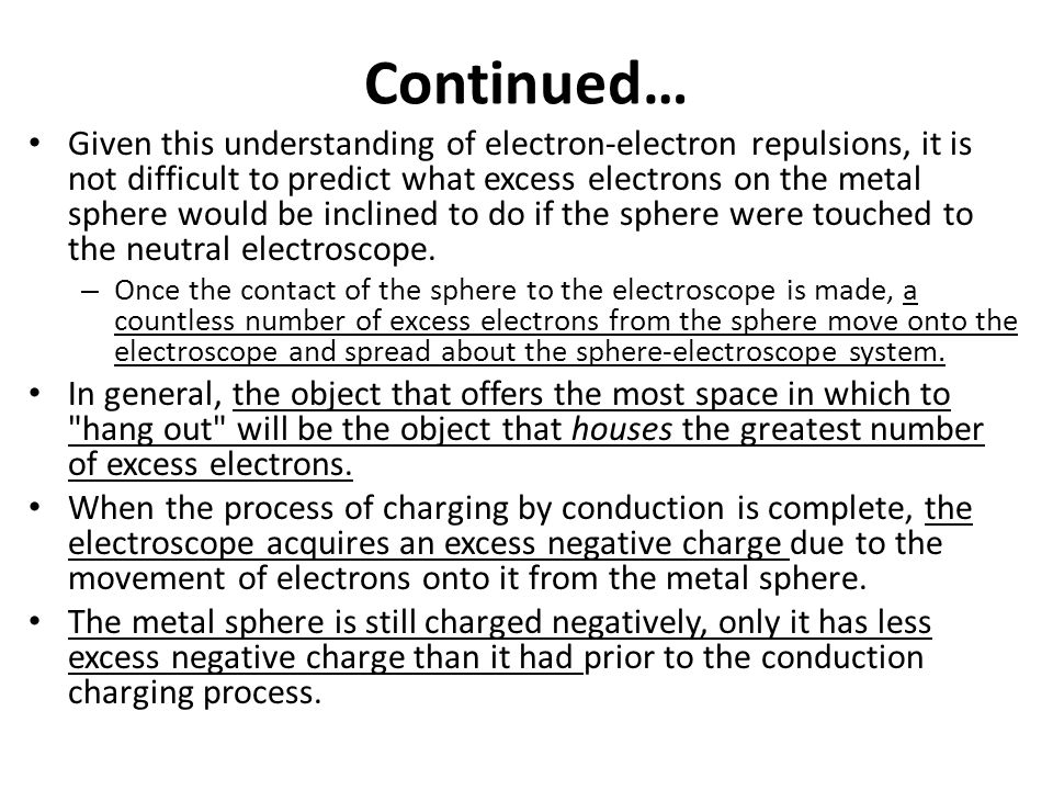 Continued… Like all well-behaved electrons, they repel each other.