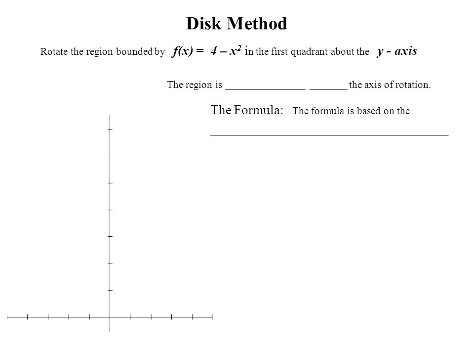 Disk Method Rotate the region bounded by f(x) = 4 – x 2 i n the first quadrant about the y - axis The region is _______________ _______ the axis of ro