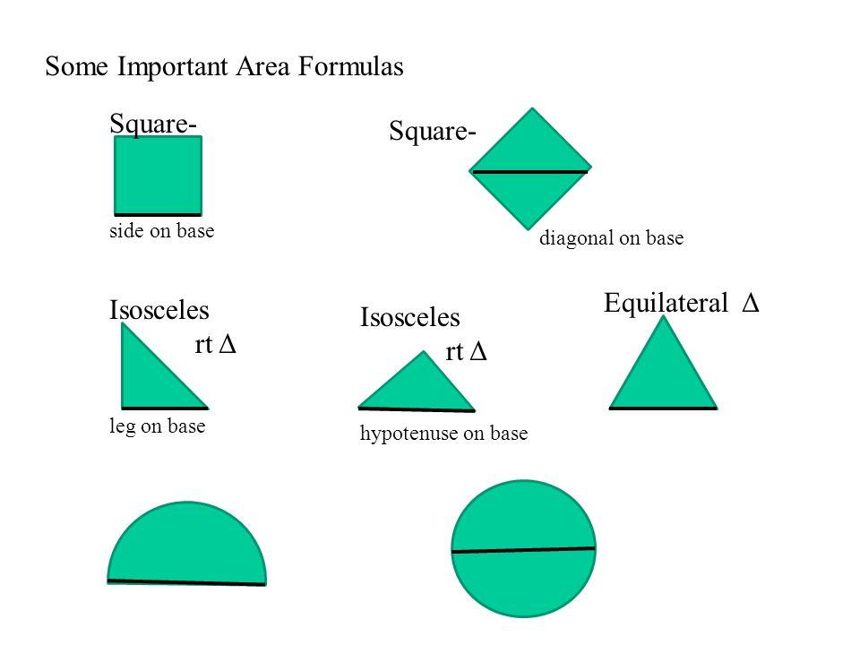 Some Important Area Formulas Square- side on base Square- diagonal on base Isosceles rt Δ leg on base Isosceles rt Δ hypotenuse on base Equilateral Δ