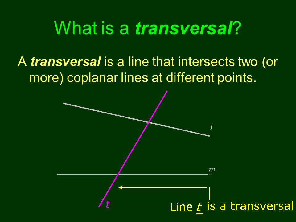 What is a transversal? A transversal is a line that intersects two (or more) coplanar lines at different points.
