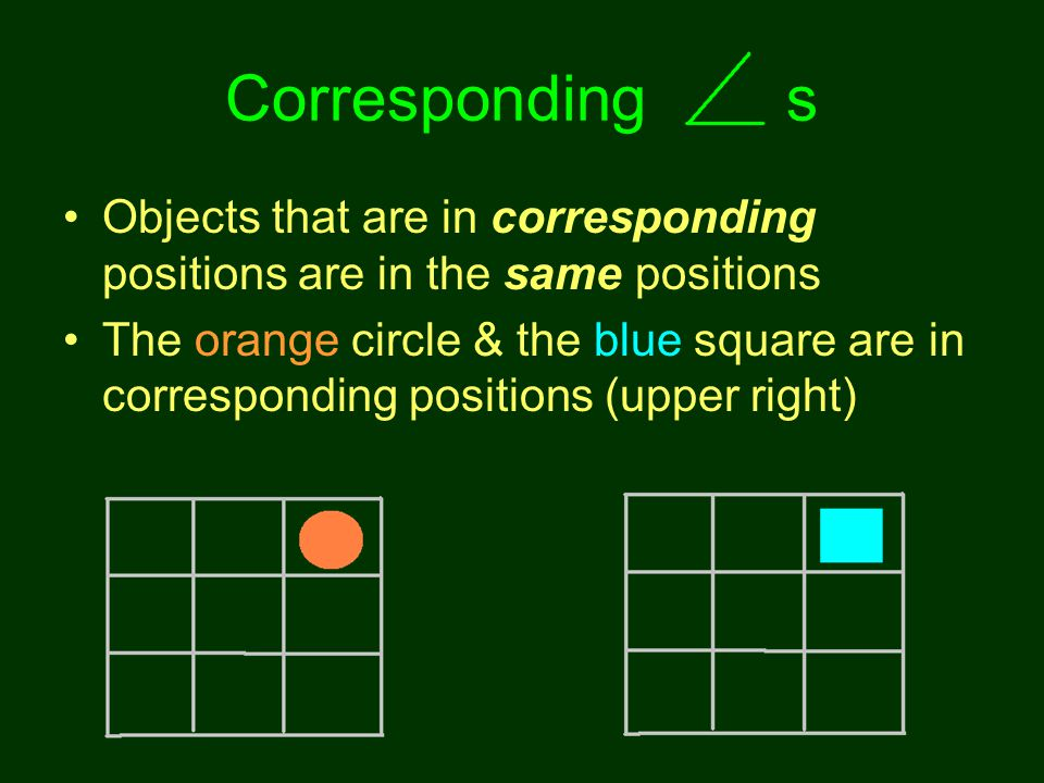Corresponding s Objects that are in corresponding positions are in the same positions The orange circle & the blue square are in corresponding positions (upper right)
