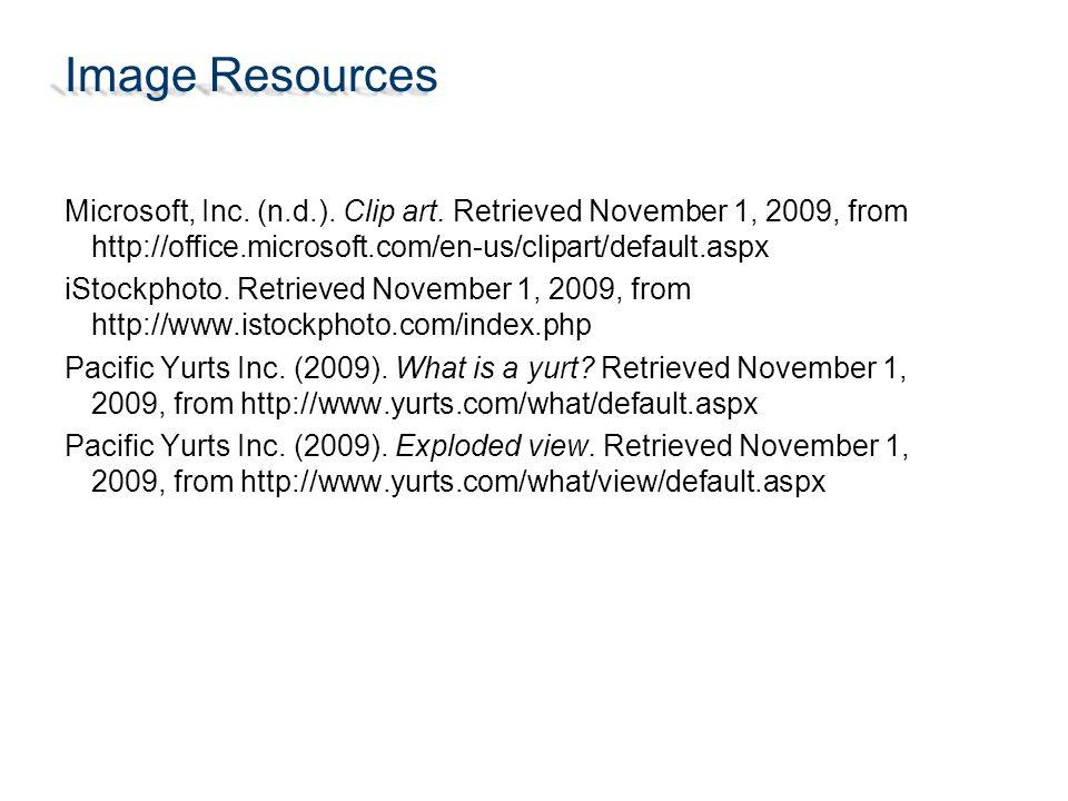 Image Resources Microsoft, Inc. (n.d.). Clip art.