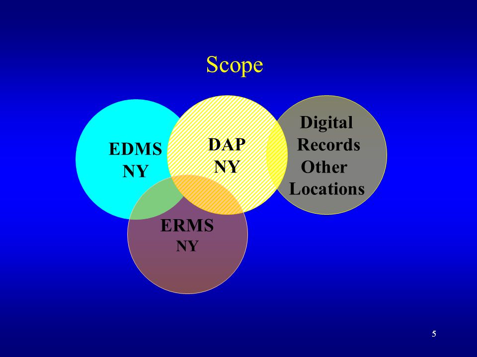 5 Scope EDMS NY DAP NY ERMS NY Digital Records Other Locations