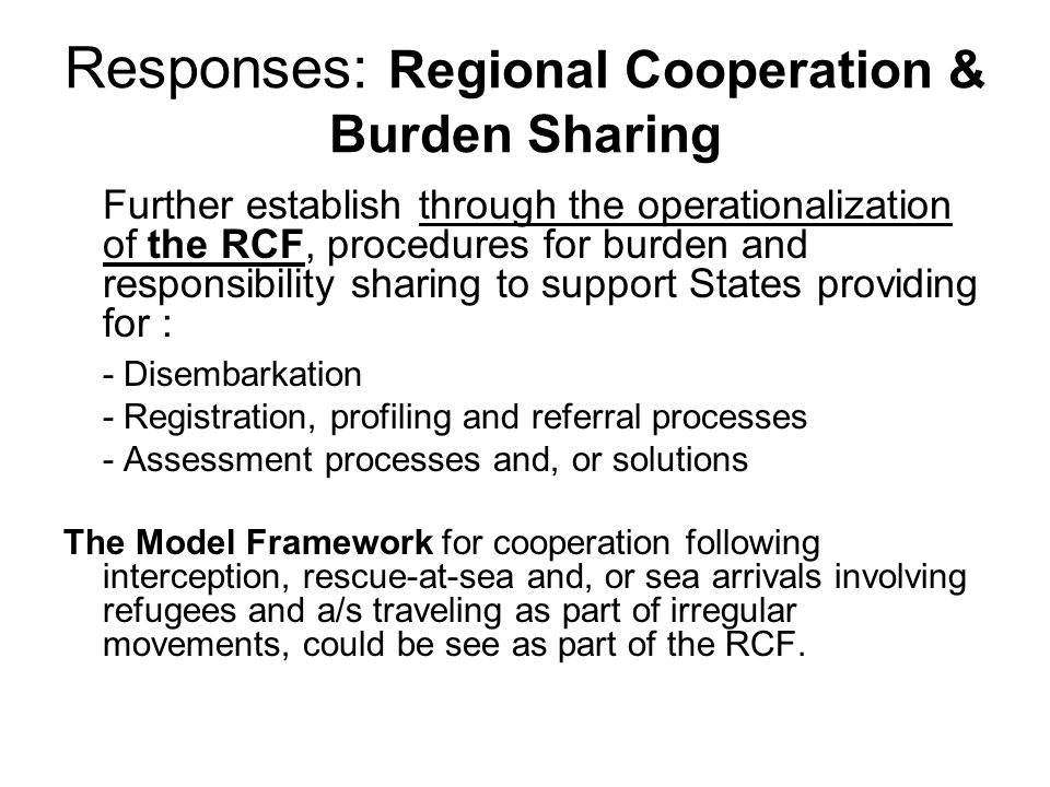 Responses: Regional Cooperation & Burden Sharing Further establish through the operationalization of the RCF, procedures for burden and responsibility