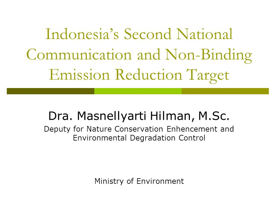 Indonesia's Second National Communication and Non-Binding Emission Reduction Target Dra.