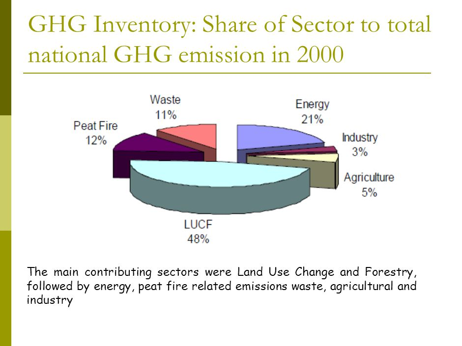 GHG Inventory: Share of Sector to total national GHG emission in 2000 The main contributing sectors were Land Use Change and Forestry, followed by energy, peat fire related emissions waste, agricultural and industry