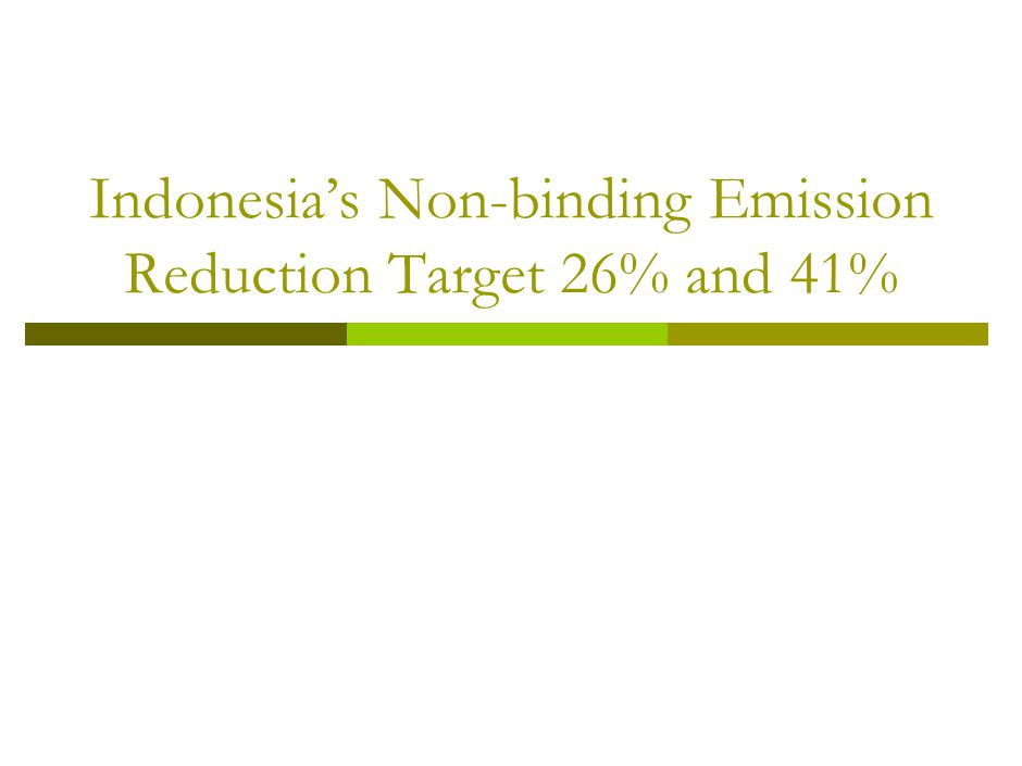 Indonesia's Non-binding Emission Reduction Target 26% and 41%