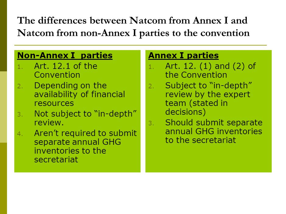 The differences between Natcom from Annex I and Natcom from non-Annex I parties to the convention Non-Annex I parties 1.