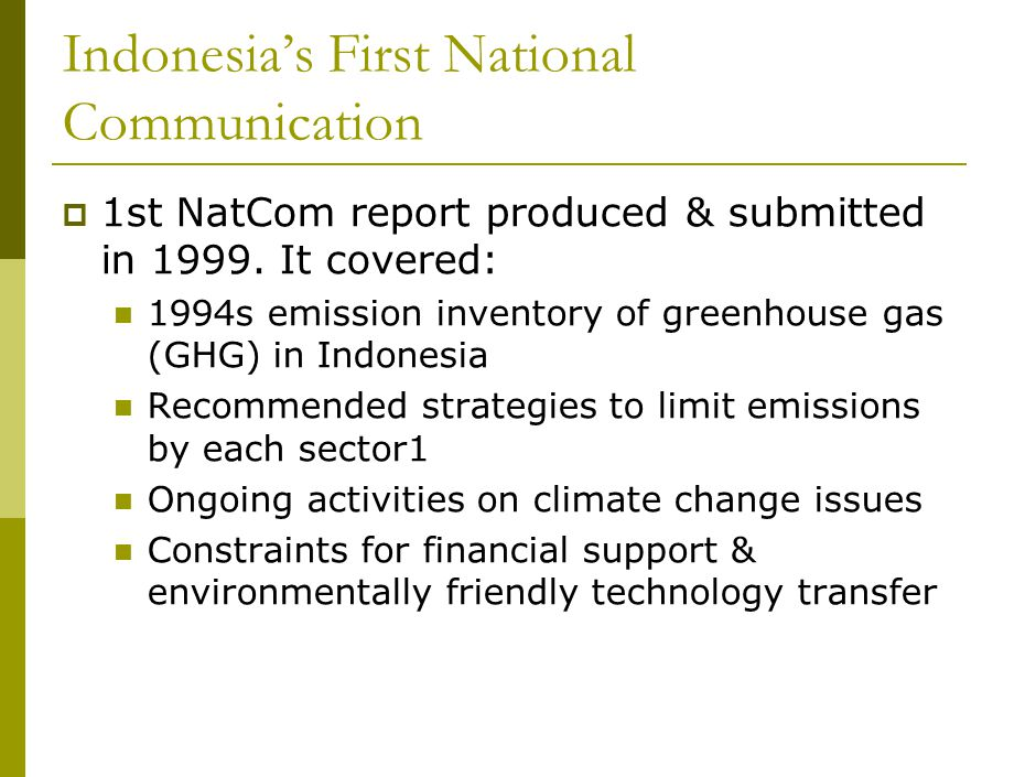Indonesia's First National Communication  1st NatCom report produced & submitted in 1999.
