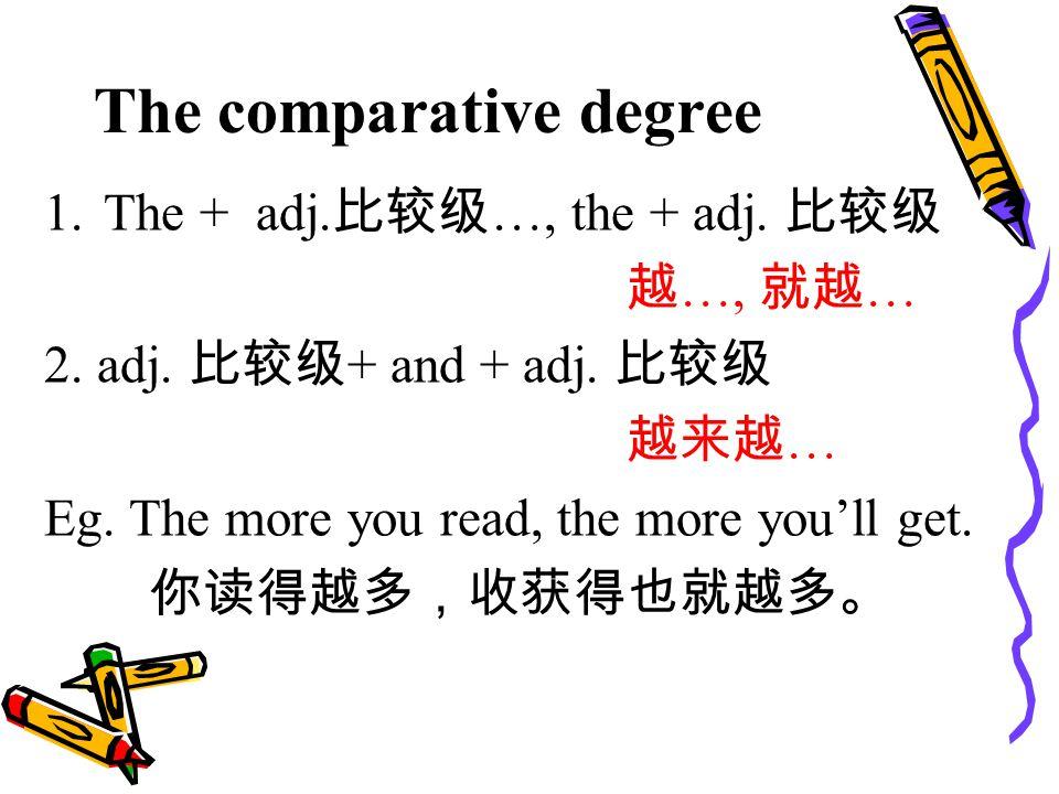 The comparative degree 1.The + adj. 比较级 …, the + adj.