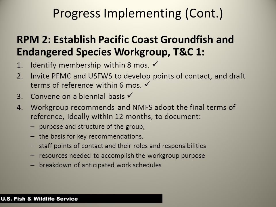 Progress Implementing (Cont.) RPM 2: Establish Pacific Coast Groundfish and Endangered Species Workgroup, T&C 1: 1.Identify membership within 8 mos.