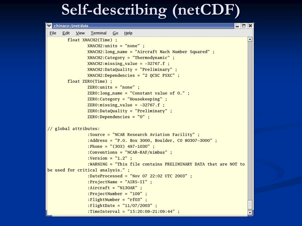 Self-describing (netCDF)