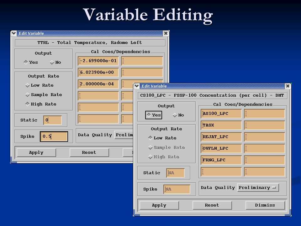 Variable Editing