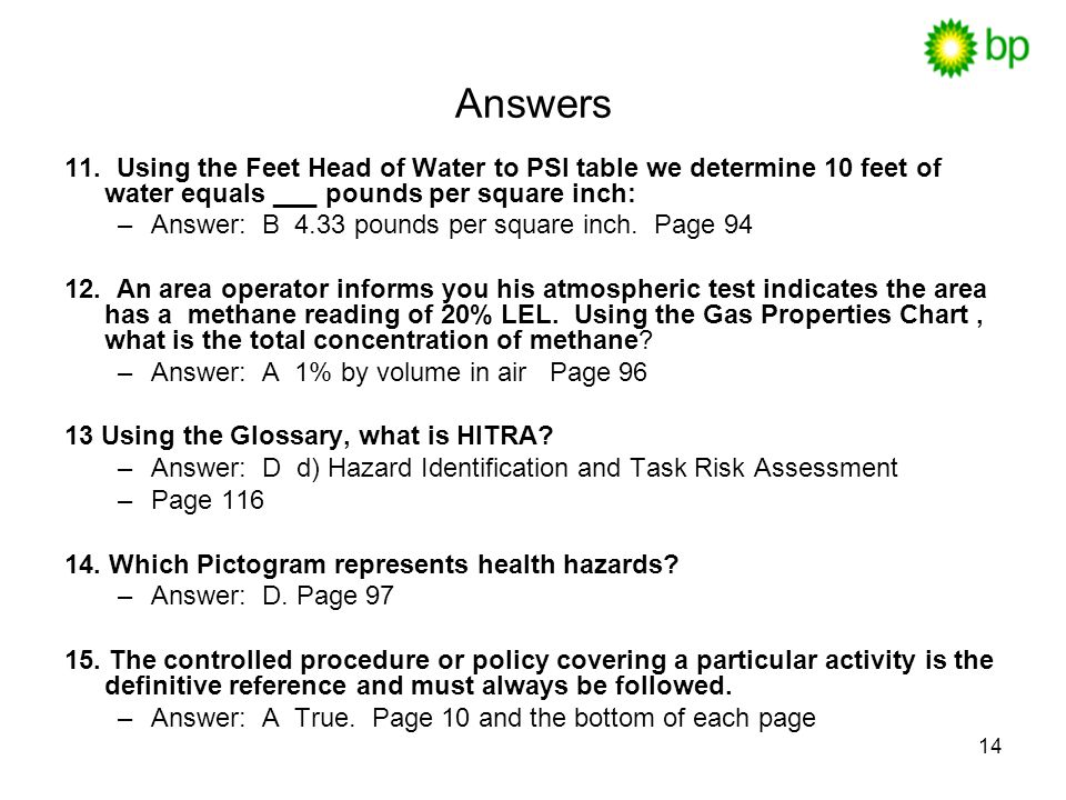 14 Answers 11.