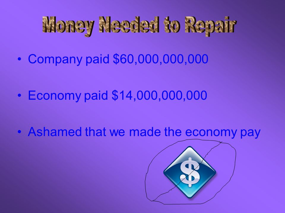 Company paid $60,000,000,000 Economy paid $14,000,000,000 Ashamed that we made the economy pay
