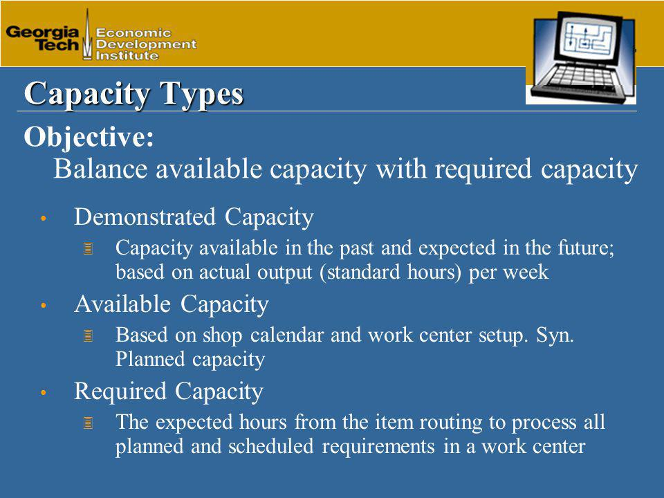 Capacity Types Demonstrated Capacity 3 Capacity available in the past and expected in the future; based on actual output (standard hours) per week Available Capacity 3 Based on shop calendar and work center setup.