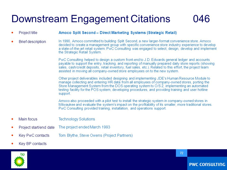  72 Downstream Engagement Citations046  Project title  Brief description  Main focus  Project start/end date  Key PwC contacts  Key BP contacts Amoco Split Second – Direct Marketing Systems (Strategic Retail) In 1990, Amoco committed to building Split Second, a new larger-format convenience store.
