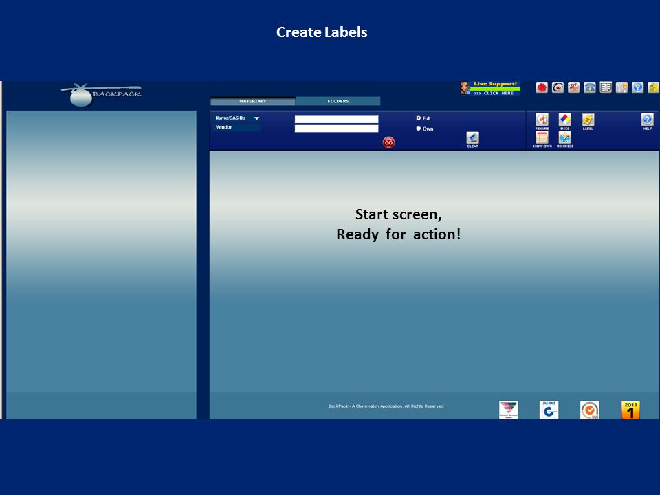Create Labels Start screen, Ready for action!